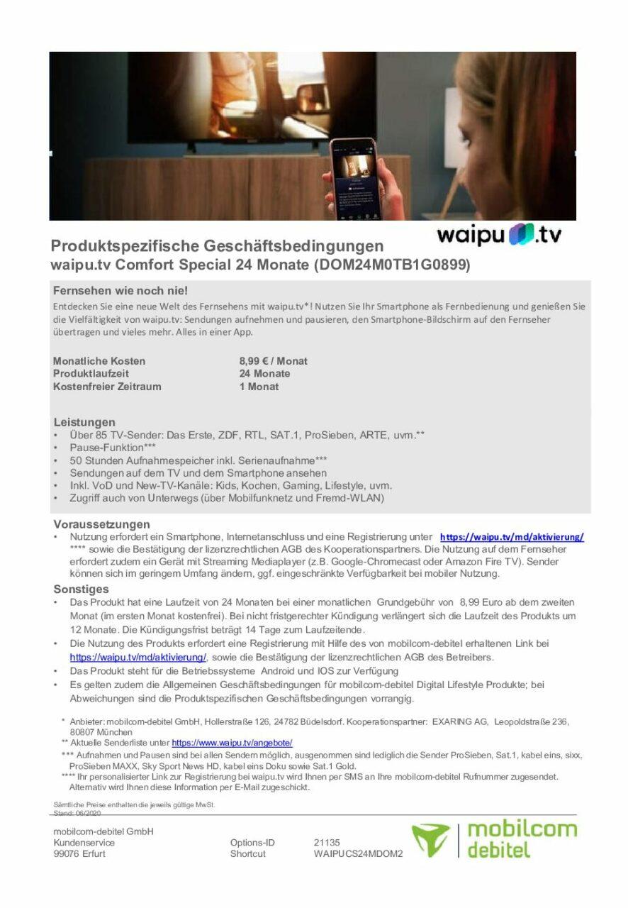 Waipu Datenblatt Comfort Spezial 1 pdf